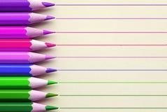 有线的明亮的铅笔在背景 库存照片