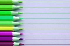 有线的明亮的铅笔在背景 免版税库存照片