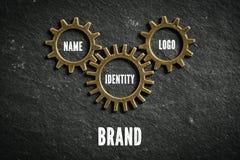有组分的被互联的钝齿轮品牌的 库存图片