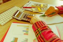 有经营计划、计算器、美元钞票、spreadshee和笔的女性在桌上 库存照片
