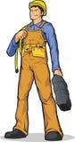 有绳索&工具箱的产业工人 免版税图库摄影