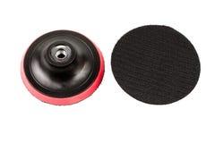 有维可牢尼龙搭扣磁带小条的塑料托架把柄圆沙纸圆盘的 库存照片