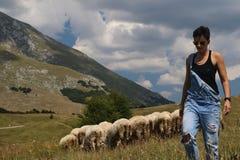 有绵羊的妇女在背景中 免版税库存图片