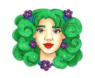 有绿色头发和紫色花的春天女孩 明信片或印刷品的例证 向量例证