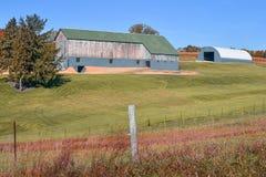 有绿色屋顶和蓝色附属建筑的土气谷仓 库存图片