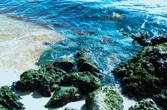 有绿色岩石的海滩蓝色海洋天堂 免版税库存照片