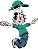 有绿色帽子的跳跃的愉快的男孩和T恤杉和蓝色长裤动画片 向量例证