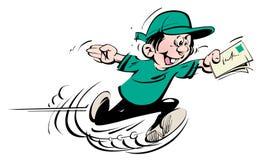 有绿色帽子的连续愉快的男孩和T恤杉和蓝色长裤漫画人物迅速传讯者 向量例证