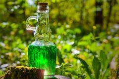 有绿色液体的瓶在一个树桩在一个晴天 概念-我 图库摄影