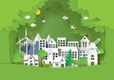 有绿色环境概念的都市城市 库存图片