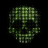 有绿色色环泡影的抽象例证头骨在黑背景纹理传染媒介设计 皇族释放例证