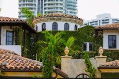 有绿色风景的豪华佛罗里达家 库存照片