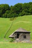 有绿草小山的老被放弃的木房子在背景中 免版税库存照片