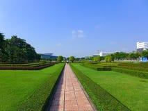 有绿草的走道在公园 免版税库存图片