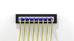 有缆绳的多个网络插座 免版税库存图片