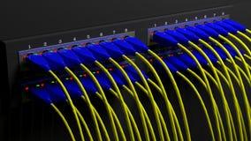 有缆绳的多个网络插座 库存照片