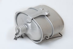有罐的军队铝烧瓶 免版税库存照片