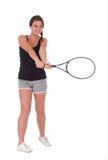 有网球拍的少妇 图库摄影