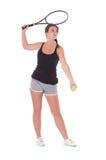 有网球拍的少妇 免版税图库摄影