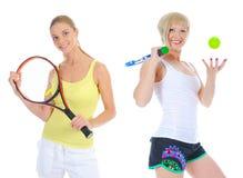 有网球拍的美丽的妇女 图库摄影