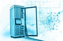 有网络缆绳的服务器机架 免版税图库摄影