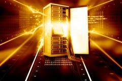 有网络缆绳的服务器机架 库存图片
