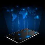 有网络连接和世界地图的智能手机 皇族释放例证