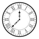有罗马数字的葡萄酒时钟 古色古香的墙壁时钟面孔拨号盘 向量 向量例证