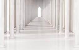 有罗马柱子和明亮的光的在出口,被回报的3d走廊 图库摄影