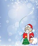 有羊羔的圣诞老人 库存照片