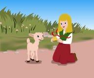 有羊羔的女孩 免版税库存图片