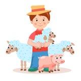 有羊羔的年轻农夫在手和牲口-猪,绵羊上 免版税库存图片