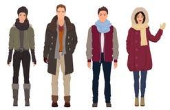 有美丽的女孩的英俊的年轻人在冬天温暖的偶然现代时尚衣裳塑造 人夫妇 免版税库存照片