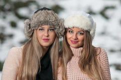 有美丽的女孩组成和雪剥落,森林背景 库存图片