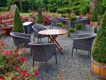 有美丽的庭院家具的环境美化的后院 免版税图库摄影