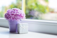 有美丽的桃红色康乃馨嫩花束的一点紫色桶与白色礼物盒的在窗口附近在白天 免版税库存图片