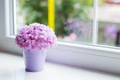 有美丽的桃红色康乃馨嫩花束的一点紫色桶在窗口附近的在白天 图库摄影