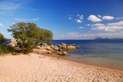 有美丽的海滩的撒丁岛海岛在意大利 免版税库存照片