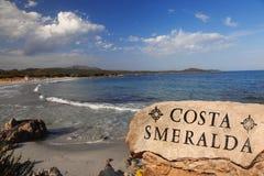 有美丽的海滩的撒丁岛海岛在意大利 库存图片