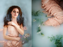 有美丽的美丽的红发女孩 自然秀丽,自然头发颜色 姜,在牛奶浴 库存图片