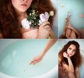 有美丽的美丽的红发女孩 自然秀丽,自然头发颜色 姜,在牛奶浴 免版税库存照片
