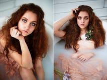 有美丽的美丽的红发女孩 自然秀丽,自然头发颜色 姜,在牛奶浴 库存照片