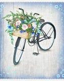 有美丽的花篮子的水彩黑自行车 手拉的夏天自行车 免版税库存照片