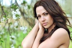 有美丽的长的卷发的妇女 有完善的s的俏丽的女孩 库存照片