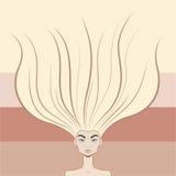 有美丽的长的头发的逗人喜爱的妇女。 沙龙样式 库存照片