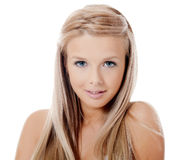 有美丽的头发的肉欲的女孩 免版税库存图片