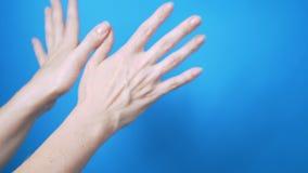 有美丽自然修指甲移动的柔和的女性手在蓝色背景 E 股票视频