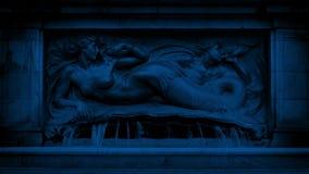 有美人鱼的喷泉在晚上 股票视频