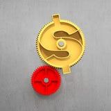有美元标志的金黄齿轮 免版税图库摄影