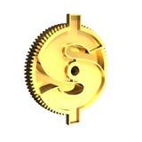 有美元标志的, 3D金黄齿轮例证 免版税库存图片